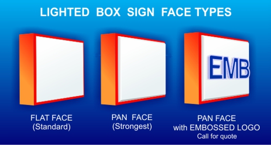 Lighted Box Sign Face Types