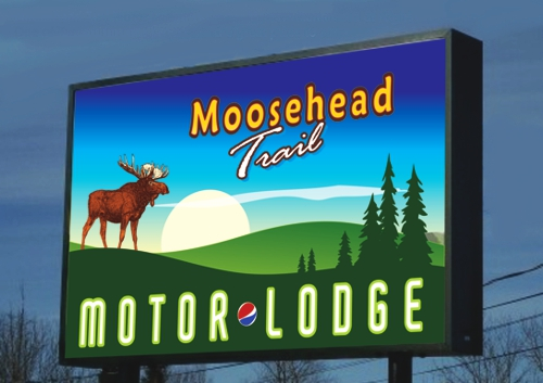 Lighted Business Signs with Custom Graphic - Moosehead Trail